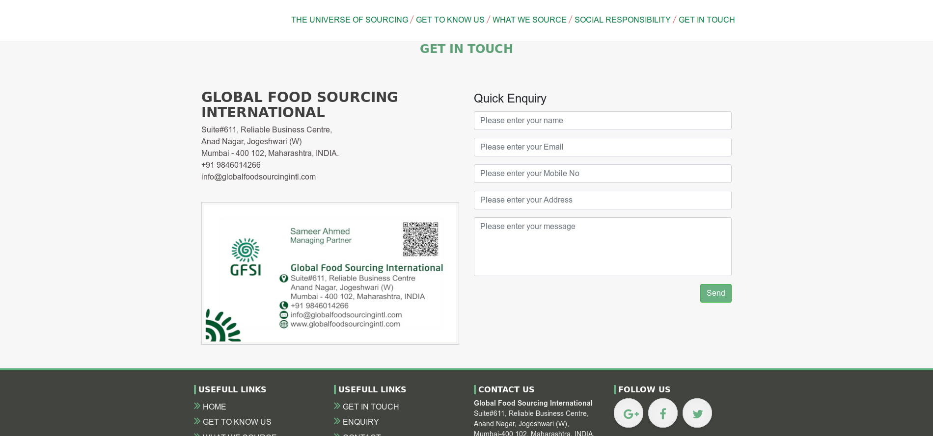 Global Food Sourcing
